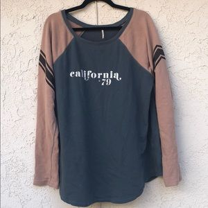 Free People California '79 Blue and Tan Sweater